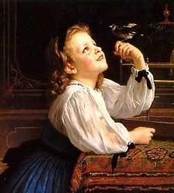 Bambina con uccellino - William Bouguereau