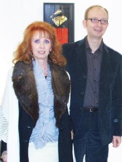 Anna Maria Guarnieri con il direttore del GAMeC Massimiliano Sbrana