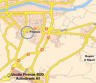 Mappa per arrivare a Villa Bandini uscendo dalla A1 a Firenze-SUD