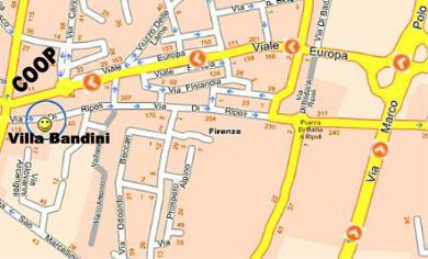Mappa per arrivare a Villa Bandini ingrandita