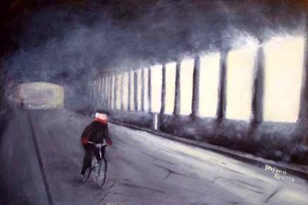 Sul ponte coperto - Opera dell'artista Stefano Brocca